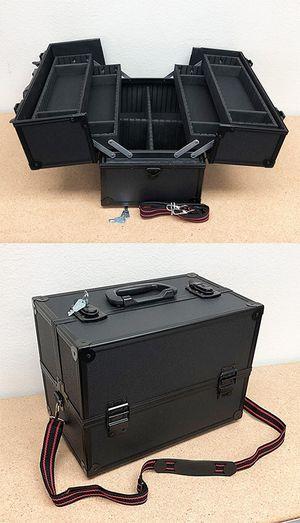 "(NEW) $40 Aluminum Makeup Case Cosmetic Travel Shoulder Storage Box w/ Lock (14x8.5x10"") for Sale in El Monte, CA"