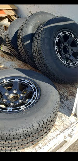 4 New Trailer Tires 225/75/15 Load E 10 ply 80 psi 6 lug Wheels/Rims for Sale in March Air Reserve Base, CA