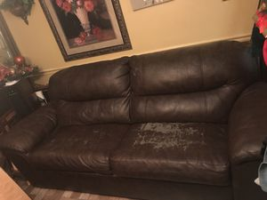 Large brown couch with built in bed for Sale in Dallas, TX