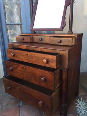 Antique Empire Mahogany Dresser + Mirror for Sale in Glendale, CA