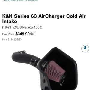 K&N Aftermarket Air Intake For 2019 Silverado 5.3 for Sale in Rockdale, IL