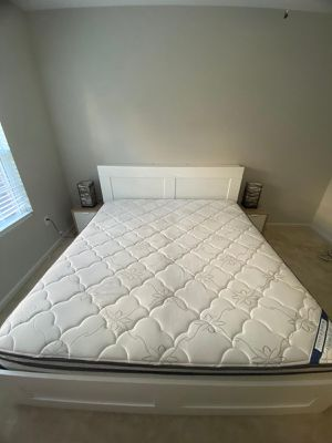 IKEA Bed frame with storage + headboard + Mattress king size for Sale in Murfreesboro, TN