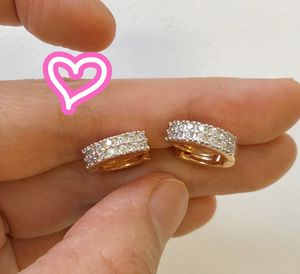 18K Two Tone Gold Filled Pave Hoop Earrings for Sale in Danville, CA