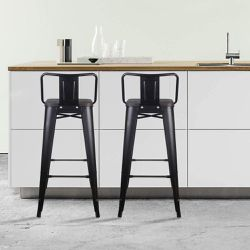 ($19 Each, Set of 4) 30 Inch Lowback Metal Stool with Wooden Seat for Sale in Los Angeles,  CA
