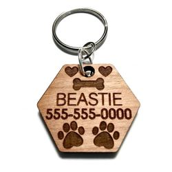 Wood Personalized Pet Tag Pet Identification Hexagon Hearts Bone Paw Prints Dog Tag for Sale in Lakeland,  FL