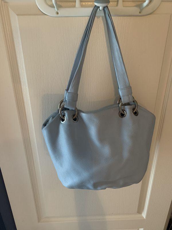 Valentina - Italian Pebble Leather Satchel Purse Bag Light Blue