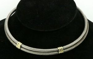 David Yurman 14K/925 Sterling silver double cable choker cuff necklace for Sale in Winter Springs, FL