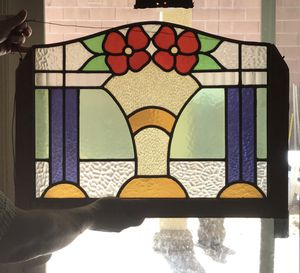 Antique stained glass Early deco window Flowers in vase for Sale in Las Vegas, NV