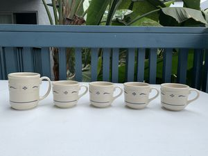 Longaberger Woven Traditions blue mugs (set of 5) for Sale in Huntington Beach, CA