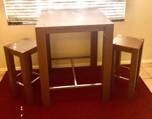 Wood Kitchen Table + 2 Stools (Bar Height) for Sale in San Diego, CA
