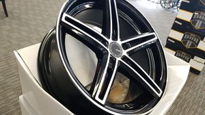 18X8 5X114.3 BLACK AND MACHINE RIMS IN STOCK NO CREDIT FINANCING AVAILABLE FOR AS LOW AS $1 for Sale in Portland, OR