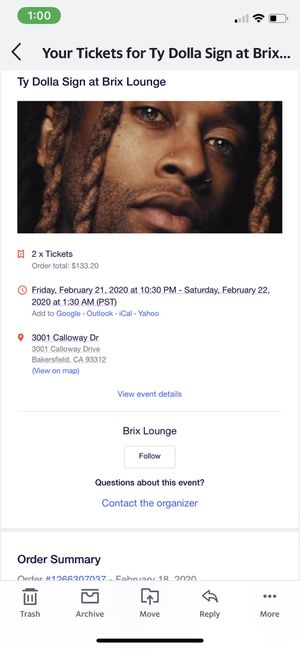 Ty dolla sign tickets for sale!!!! For 2/21 Friday unable to make it - for Sale in undefined