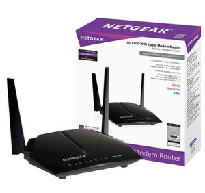 NETGEAR - Dual-Band AC1200 Router with 8 x 4 DOCSIS 3.0 Cable Modem - Black for Sale in Fontana, CA
