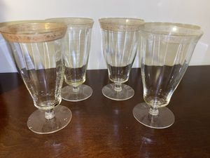 Set of 4 antique vintage Handblown gold painted glasses glassware for Sale in Lafayette Hill, PA