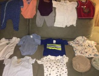 Baby Boy Clothing Lot (size newborn to 9 months plus hat to 12 months) for Sale in Renton,  WA