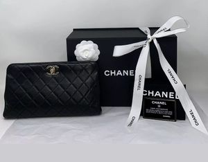 CHANEL Classic Black Lambskin Leather Quilted Clutch Bag New ❤️ for Sale in Corona, CA
