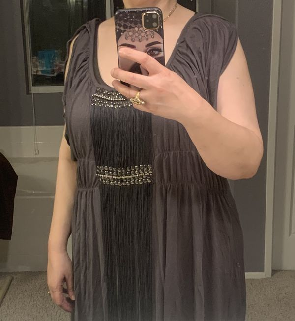 Plus size Grey top with fringes