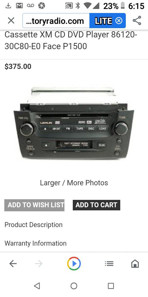 2004-2006 Lexus am/fm radio,CD,DVD, cassette player and navagation
