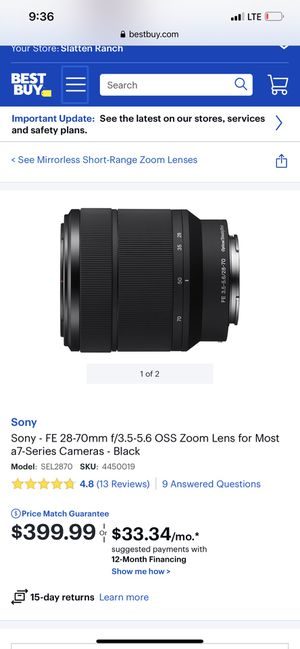 Sony fe 28-70mm E mount for Sale in Concord, CA