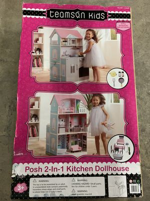 Brand New in Box Teamson Kids Posh 2-in-1 Kitchen Dollhouse kids baby toys gift deal special home house for Sale in San Antonio, TX