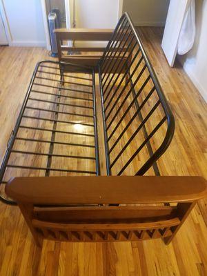 Futon bed frame with storage arm rest for Sale in Oakhurst, NJ