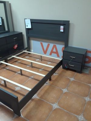 4 piece queen bedroom set queen bed frame dresser mirror and nightstand On promotional sale for Sale in Antioch, CA