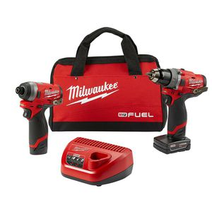 MILWAUKEE M12 FUEL 12-VOLT LITHIUM-ION BRUSHLESS CORDLESS HAMMER DRILL AND IMPACT DRIVER COMBO KIT (2-TOOL) W(2) BATTERIES & BAG for Sale in Berwyn, IL