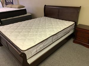 Queen-size cherry wood sleigh bed with mattress free delivery for Sale in Irving, TX
