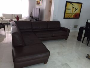 """Leather Brown """"L"""" Shape full sleeper Selectional Sofa from Macy's was $3,499.00, it is like new. I'm selling it for $ 1,250.00 for Sale in Palmetto Bay, FL"""