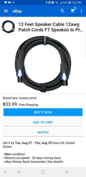 2-GLS-Audio speaker cable 2conductor 12AWG for Sale in Chicago, IL