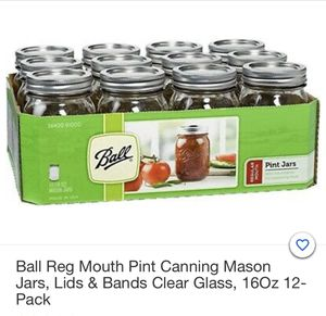Ball regular mouth pint canning mason jars, lids and bands 16oz 12 pack for Sale in FSTRVL TRVOSE, PA
