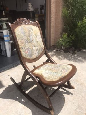 Antique foldable wooden rocking chair for Sale in Las Vegas, NV