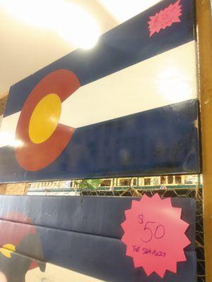 American handcrafted wooden Colorado flags for Sale in Pueblo, CO