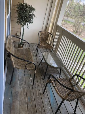 Patio outdoor furniture with plastic decorative green/gold plant for Sale in North Olmsted, OH