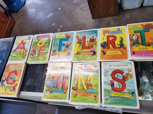10 learning alphabet cassettes, not complete. Its a csssette and a book on each of them. $5 for all for Sale in Brooksville, FL