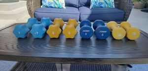 Lot Neoprene Dumbbells 7lb 6lb 5lb 4lb 44lbs Total for Sale in Chicago, IL