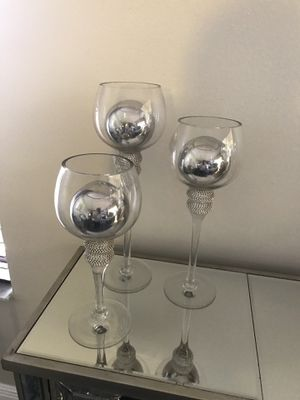 (3) Decorative glass candle holders $18 for Sale in Miami, FL