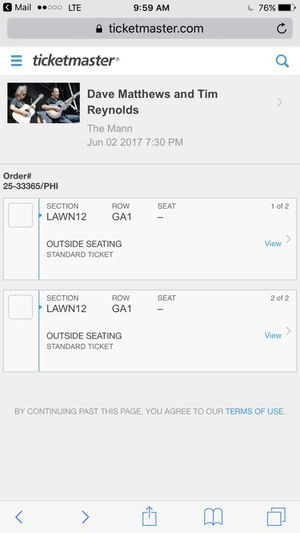 Dave Matthews Tickets for Sale in Wilkes-Barre, PA