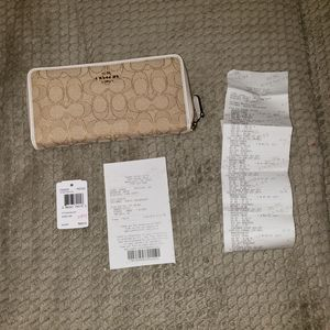 Coach Monogram C Canvas & White Leather Wallet Brand New for Sale in Millvale, PA