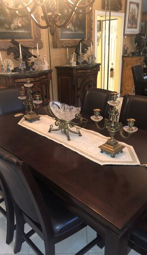 ANTIQUE HEAVY BRONZE / CRYSTAL TABLE CENTERPIECE WITH CANDELABRAS for Sale in Boca Raton, FL