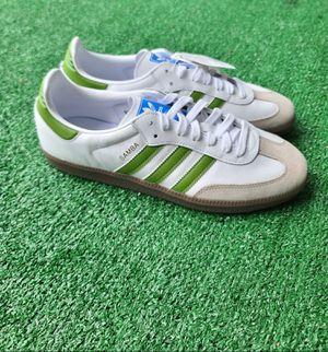 New Size 10.5 Adidas Samba OG Shoes Cloud White/Tech Olive/Light Brown Men's for Sale in PT CHARLOTTE, FL