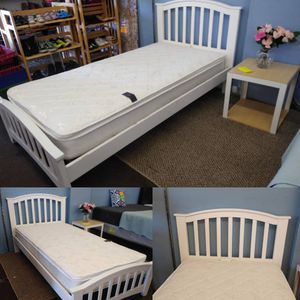Twin size wood white bed frame with pillow top mattress for Sale in Tampa, FL