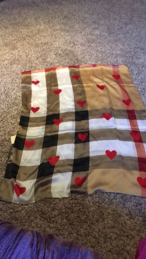 Authentic Burberry beige plaid check red hearts silk scarf for Sale in Woodcliff Lake, NJ