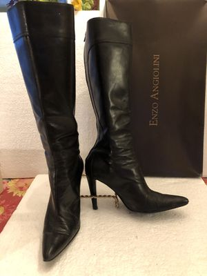 Women's knee boots black leather - Stitches embellishments - Size 6 - Brand Enzo Angiolini for Sale in Hialeah, FL