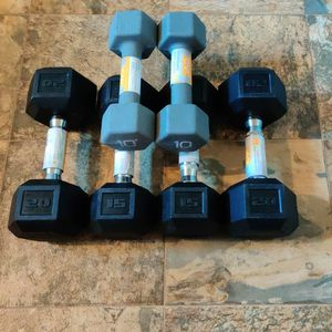 New 90lb Dumbbell Set Hex 10lb 15lb 20lb Pairs for Sale in Parkland, WA