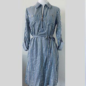 Anne Klein Striped Metallic Belted 3/4 Sleeve Gold blue Dress women's sz 6 for Sale in Las Vegas, NV