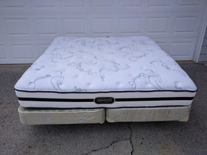 King size bed Mattress, box spring and metal frame for Sale in Duluth, GA