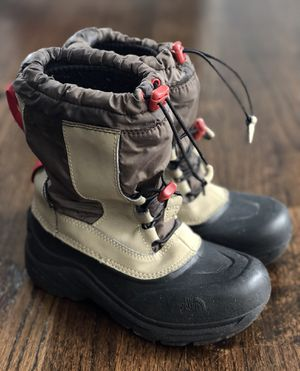 NORTH FACE black tan red winter insulated waterproof snow boots removable inserts - Size 2 Kids for Sale in Bolingbrook, IL