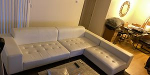 White leather sectional couch in good condition must go!! for Sale in Los Angeles, CA