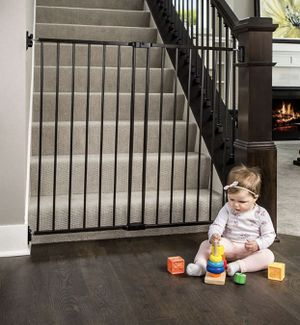 """Regalo 2-in-1 Extra Tall Easy Swing Stairway and Hallway Walk Through Baby Gate, Black 24""""-40.5wide 36""""high for Sale in Las Vegas, NV"""